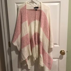 Lane Bryant Pink and white open knit Shaw